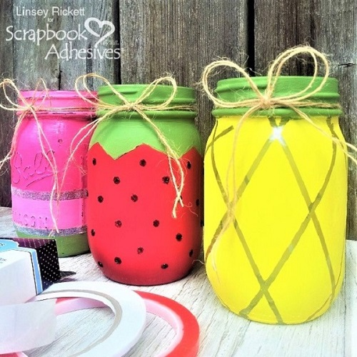 Kid-Friendly Summer Fruity Mason Jars by Linsey Rickett for Scrapbook Adhesives by 3L
