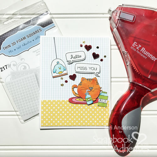 Stamped Cat Card with Foiled Dots and Hearts by Teri Anderson for Scrapbook Adhesives by 3L