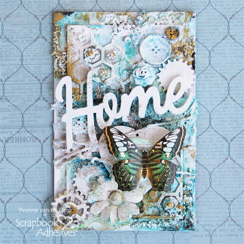 Layered Mixed Media Art: Home by Yvonne van de Grjip for Scrapbook Adhesives by 3L
