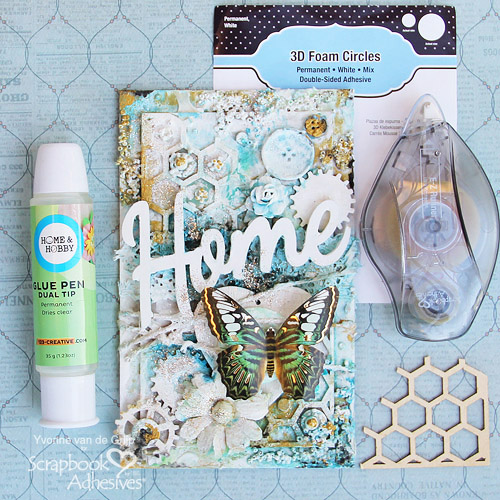 Scrapbook Adhesives by 3L®, Extreme Double Sided Tape 1/8in, 3D Foam Circles White Mix, Dual Tip Glue Pen, E-Z Runner® Grand Ultra Strong Refill, Yvonne van de Grijp, Mixed Media, Home, artwork