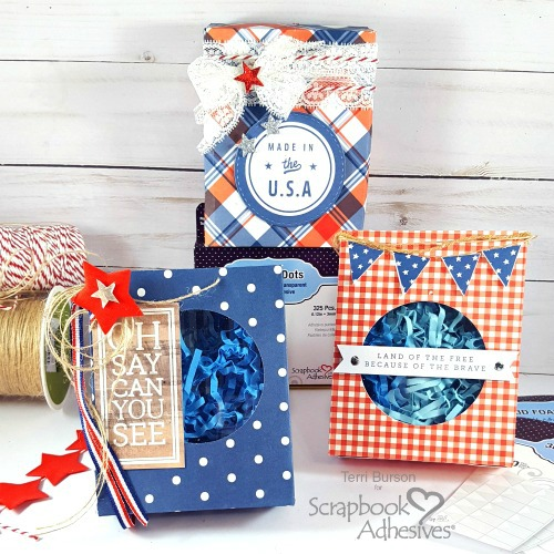 Patriotic Embellished Treat Boxes by Terri Burson for Scrapbook Adhesives by 3L