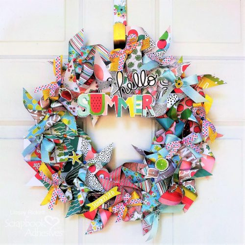 DIY Summertime Pinwheel Wreath by Linsey Rickett for Scrapbook Adhesives by 3L