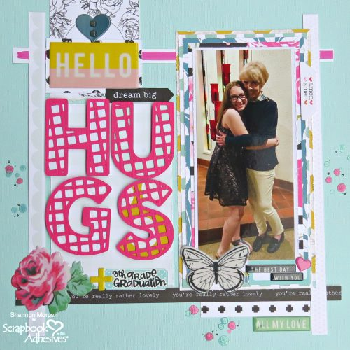 Hello Hugs Layout with Adhesive Lines by Shannon Morgan for Scrapbook Adhesives by 3L