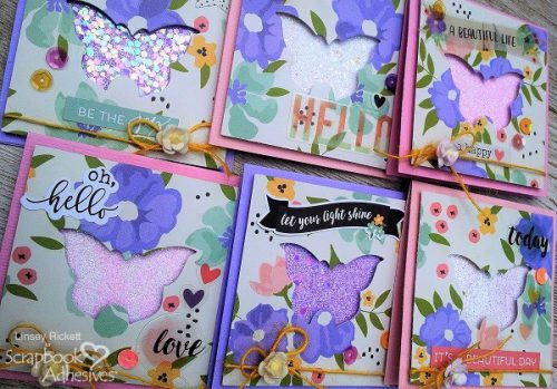 3 x 3 Notecards with Butterfly by Linsey RIckett for Scrapbook Adhesives by 3L