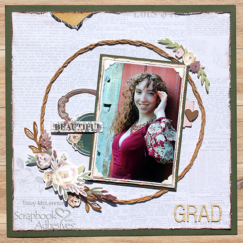 Twine Wreath Layout with Adhesive Lines by Tracy McLennon for Scrapbook Adhesives by 3L