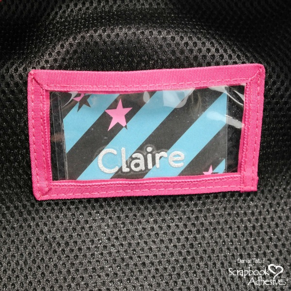DIY Patterned paper and die-cut glitter letter backpack name tag in a Self-Laminating Card