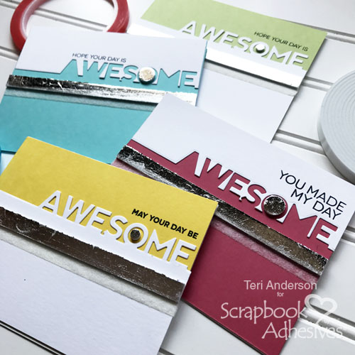 Modern Clean And Simple (CAS) Style Card Set Tutorial by Teri Anderson for Scrapbook Adhesives by 3L