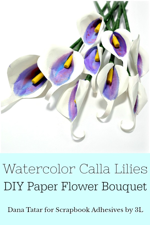 Scrapbook adhesives by 3l crafty power blog scrapbook adhesives by 3l watercolor calla lilies diy paper flower bouquet tutorial mightylinksfo