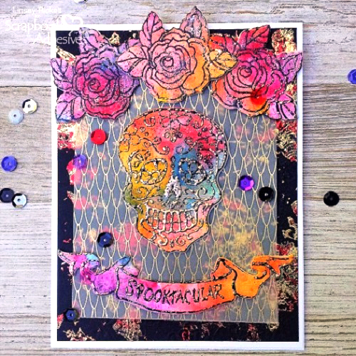 Holiday Card Creations with Stampendous - Day 1 Mixed Media Spooktacular Card by Linsey Rickett for Scrapbook Adhesives by 3L