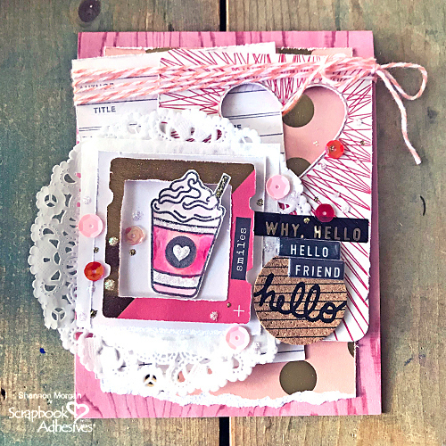 Hello Friend Card on National Coffee Day Blog Hop by Shannon Morgan for Scrapbook Adhesives by 3L