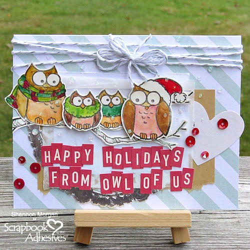 Joyful Inspiration from Stampendous - Day 3 Happy Holidays Owl Card by Shannon Morgan for Scrapbook Adhesives by 3L
