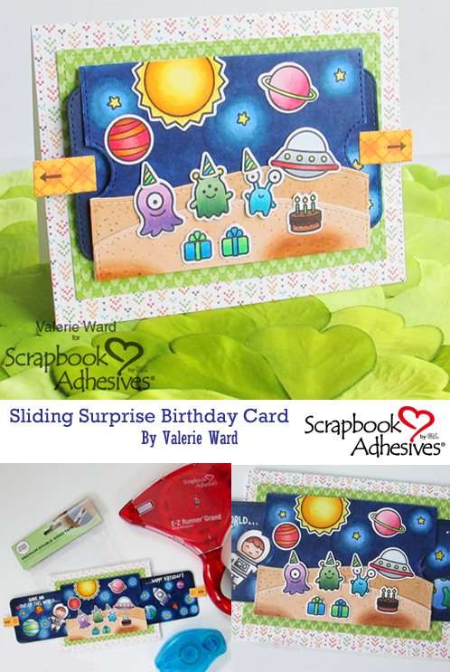 Sliding Surprise Birthday Card by Valerie Ward for Scrapbook Adhesives by 3L