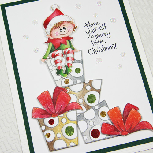 Holiday Cheer with Stampendous - Day 2 Elf Christmas Card by Yvonne van de Grijp for Scrapbook Adhesives by 3L