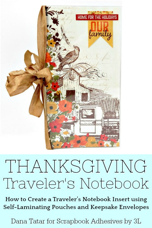 DIY Thanksgiving Traveler's Notebook created by Dana Tatar for Scrapbook Adhesives by 3L