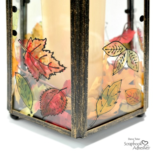 Glass Lantern with Black Glue Painted Leaves