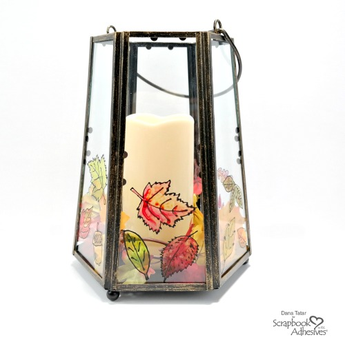 Hand-Painted Fall Lantern with Black Glue Leaves