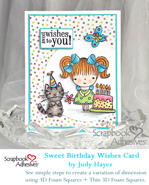 Pinterest Sweet Birthday Wishes Card by Judy Hayes for Scrapbook Adhesives by 3L