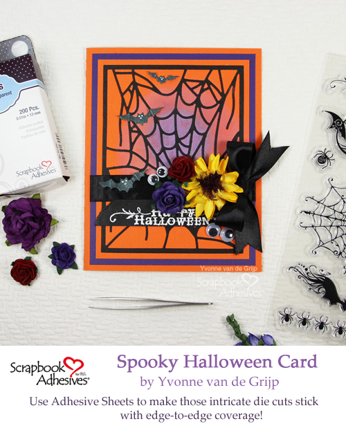 Pinterest Spooky Halloween Card with Adhesive Sheets by Yvonne van de Grijp for Scrapbook Adhesives by 3L