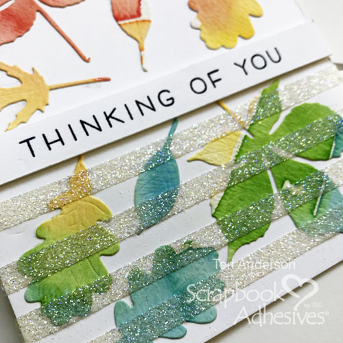 Glitter Stripes Watercolor Leaf Cards by Teri Anderson for Scrapbook Adhesives by 3L