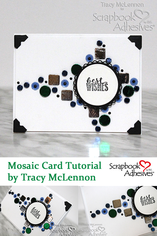 Pinterest Mosaic Card Using 3D Foam Squares and Circles by Tracy McLennon for Scrapbook Adhesives by 3L