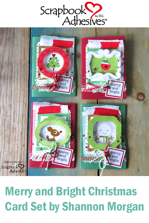 Pinterest Merry and Bright Christmas Card Set by Shannon Morgan for Scrapbook Adhesives by 3L