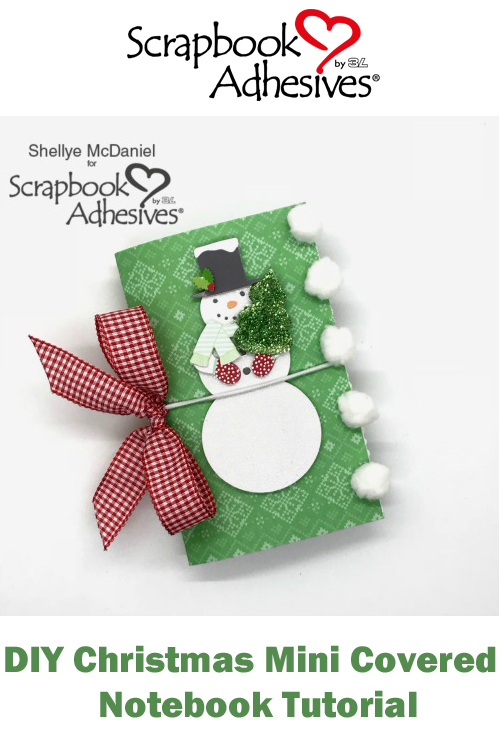 Pinterest DIY Christmas Mini Covered Notebook Tutorial by Shellye McDaniel for Scrapbook Adhesives by 3L