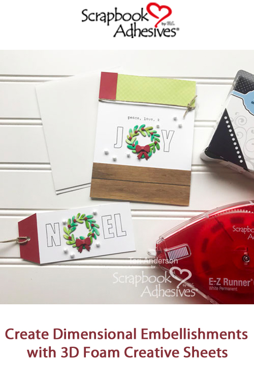 Pinterest Christmas Wreath Card and Gift Tag Set by Teri Anderson for Scrapbook Adhesives by 3L