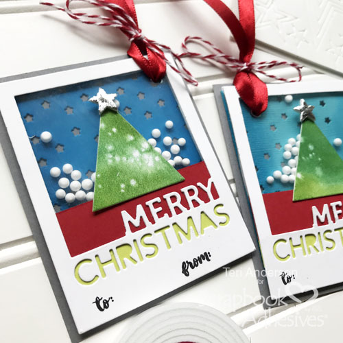 Merry Christmas Tree Shaker Tags by Teri Anderson for Scrapbook Adhesives by 3L
