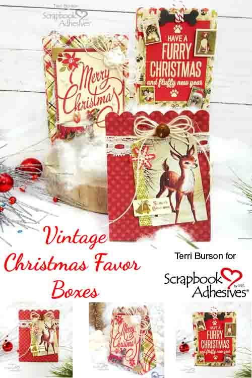 Vintage Favor Boxes Tutorial by Terri Burson for Scrapbook Adhesives by 3L
