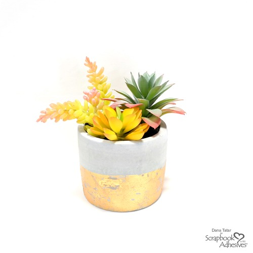 DIY Faux Gold Leaf Succulent Planter by Dana Tatar for Scrapbook Adhesives by 3L