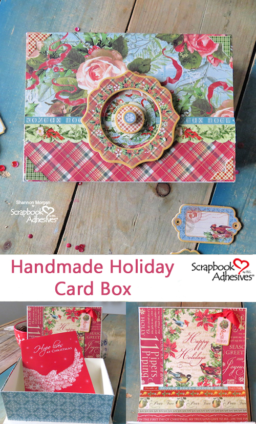 Handmade Holiday Card Box by Shannon Morgan for Scrapbook Adhesives by 3L Christmas Inspiration Week with Graphic 45 Pinterest