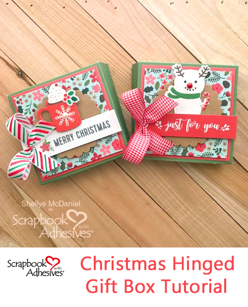 Christmas Hinged Gift Box Tutorial by Shellye McDaniel for Scrapbook Adhesives by 3L Pinterest