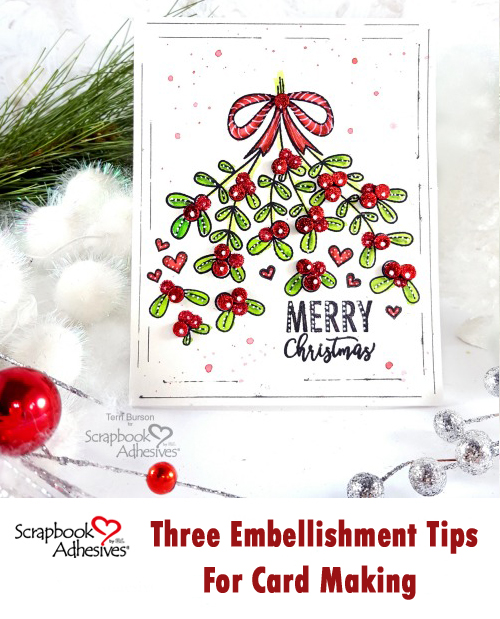 Decorative Stamped Christmas Card by Terri Burson for Scrapbook Adhesives by 3L Pinterest