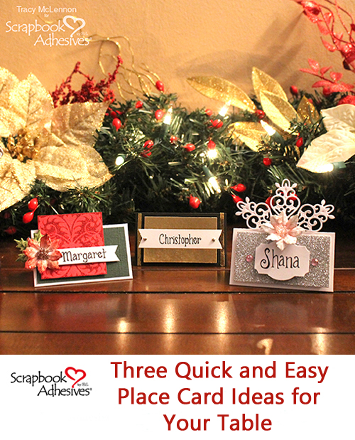 Quick and Easy Christmas Place Cards by Tracy McLennon for Scrapbook Adhesives by 3L Pinterest