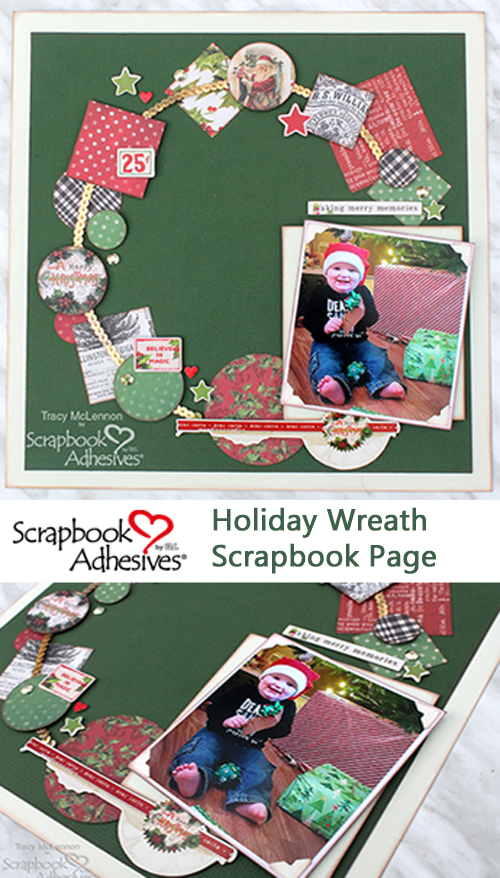 Holiday Wreath Layout by Tracy McLennon for Scrapbook Adhesives by 3L Pinterest