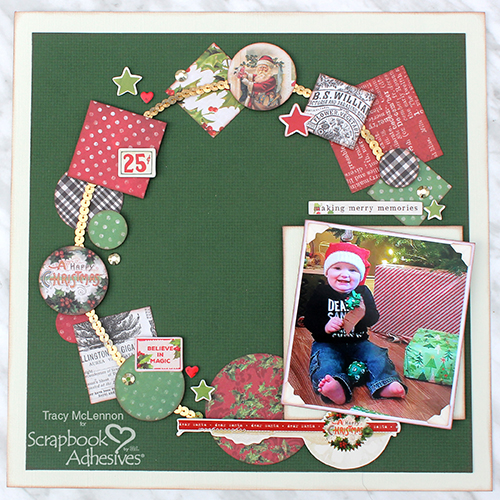 Holiday Wreath Layout by Tracy McLennon for Scrapbook Adhesives by 3L