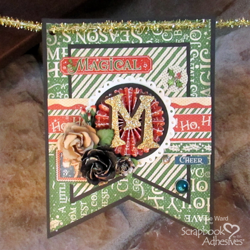 Handmade Merry Banner by Valerie Ward for Scrapbook Adhesives by 3L Christmas Inspiration Week with Graphic 45