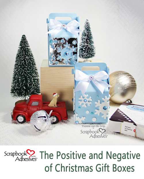 The Positive and Negative of Christmas Gift Boxes by Yvonne van de Grijp for Scrapbook Adhesives by 3L Pinterest