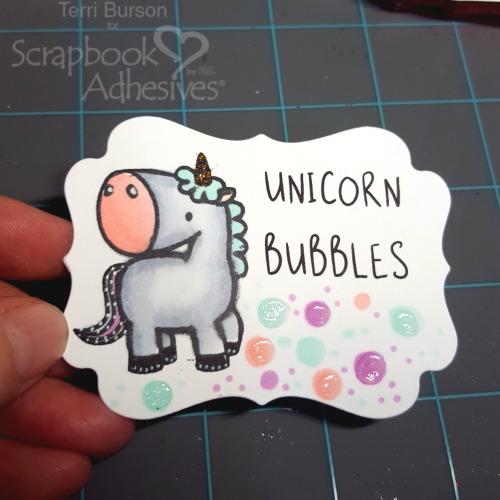 DIY Unicorn Bubble Bath and Label by Terri Burson for Scrapbook Adhesives by 3L