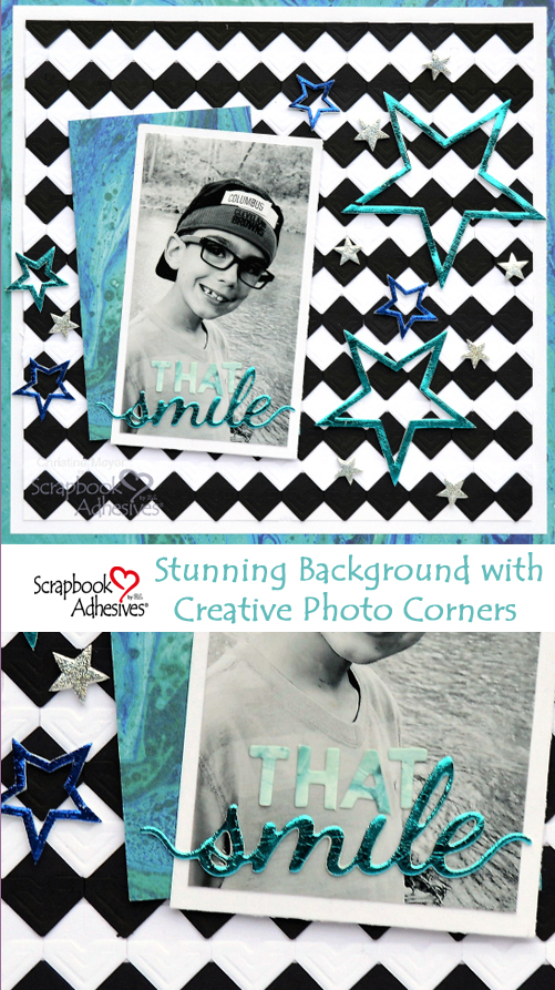 Creative Photo Corner Background by Christine Meyer for Scrapbook Adhesives by 3L Pinterest