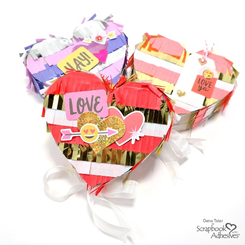 Heart Pinatas for Valentine's Day by Dana Tatar for Scrapbook Adhesives by 3L