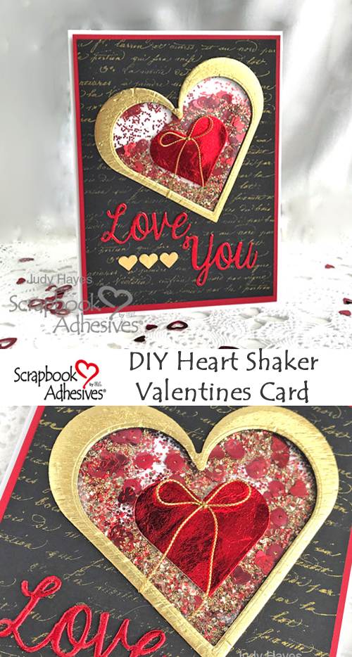 DIY Heart Shaker Card Tutorial by Judy Hayes for Scrapbook Adhesives by 3L Pinterest