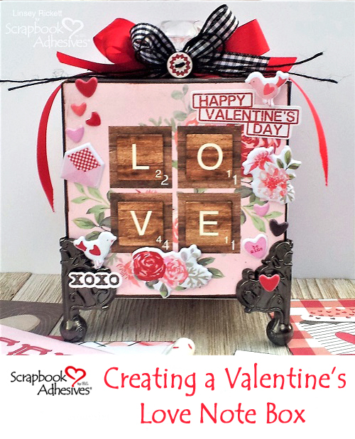 Valentine's Love Note Box by Linsey Rickett for Scrapbook Adhesives by 3L Pinterest