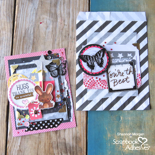 Layered Thank You Note and Bag Set by Shannon Morgan for Scrapbook Adhesives by 3L