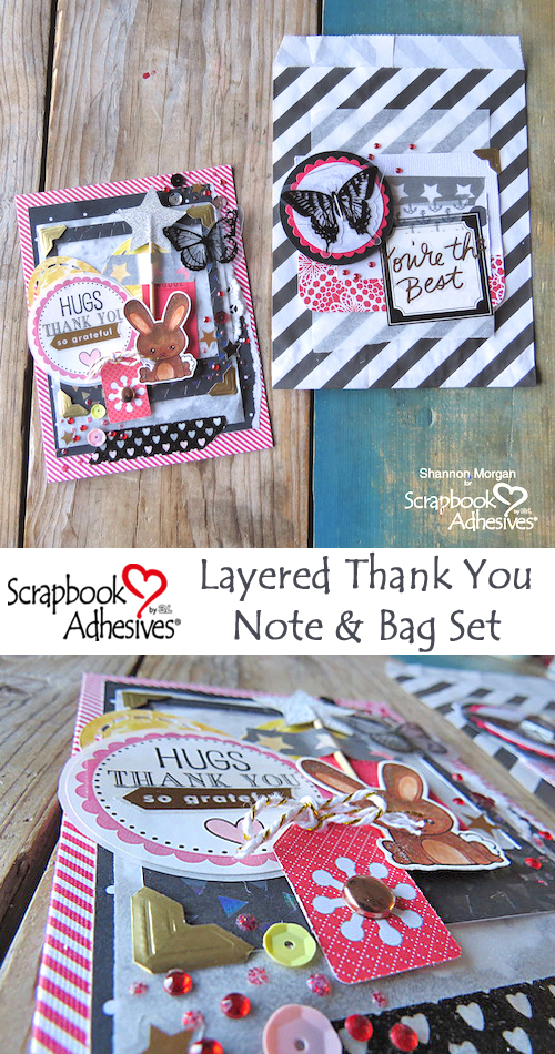 Layered Thank You Note and Bag Set by Shannon Morgan for Scrapbook Adhesives by 3L Pinterest