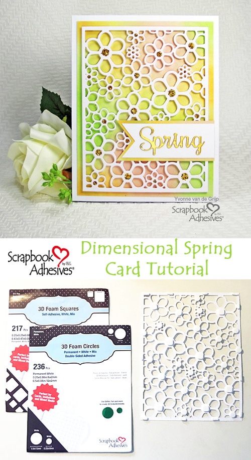 Dimensional Spring Card Tutorial by Yvonne van de Grijp for Scrapbook Adhesives by 3L Pinterest