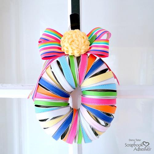 Mason Jar Ring Spring Ribbon Wreath by Dana Tatar for Scrapbook Adhesives by 3L