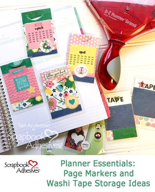 Planner Page Markers and Washi Tape Storage Cards by Teri Anderson for Scrapbook Adhesives by3L Pinterest