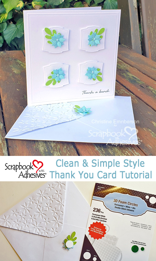 A Clean and Simple Thank You Card Tutorial by Christine Emberson for Scrapbook Adhesives by 3L Pinterest