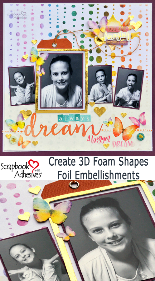 3D Foam Shapes Scrapbook Layout by Christine Meyer for Scrapbook Adhesives by 3L Pinterest